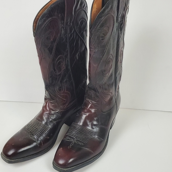 Dan Post dark red/black leather cowboy boots